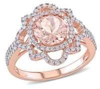 Sonatina 14K Rose Gold, Morganite and 0.5 TCW Diamond Ring