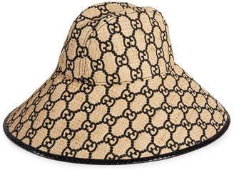 Gucci Raffia Interlocking G Embroidered Bucket Hat