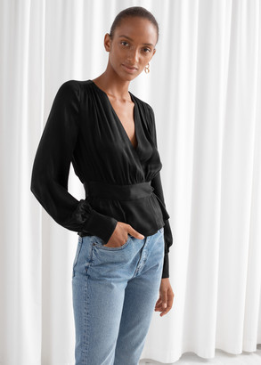 And other stories Belted Satin Wrap Blouse