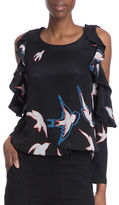 Tracy Reese Flounced Bird Printed Cold Shoulder Silk Blouse