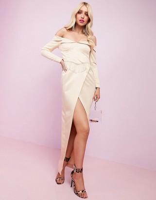 Asos DESIGN Luxe premium satin off shoulder maxi dress with split and embellished fringe trim