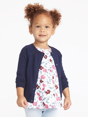 Old Navy Button-Front Crew-Neck Cardigan for Toddler Girls