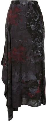 Yohji Yamamoto Abstract Print Draped Side Skirt