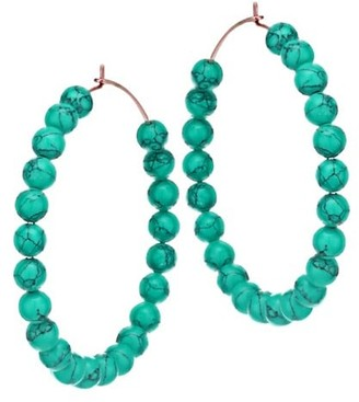 ginette_ny Maria 18K Rose Gold & Turquoise Beaded Hoop Earrings