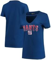 New Era Women's Royal New York Giants Gradient Glitter Choker V-Neck T-Shirt