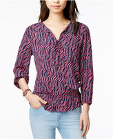 Tommy Hilfiger Champagne Printed Peasant Top, Only at Macy's