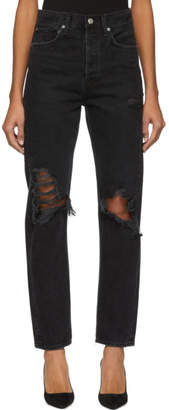 A Gold E Agolde AGOLDE Black 90s Mid Rise Loose Fit Jeans