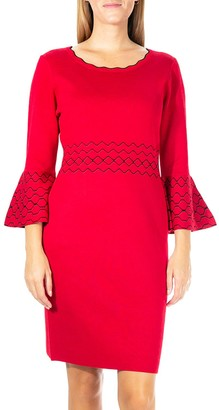Nina Leonard Women's Jacquard Bell-Sleeve Sweater Dress