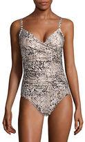 Calvin Klein One-Piece Tummy-Control Snake Twist Swimsuit