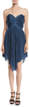 Halston Strapless Pleated Mini Dress w/ Asymmetric Hem