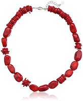 Barse Basics Sterling Silver and Red Bamboo Coral Necklace