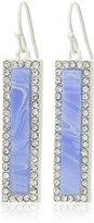 T Tahari Silver and Blue Agate Linear Drop Earrings