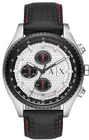 Armani Exchange Stainless Steel Black Leather Strap Chronograph, AX1611