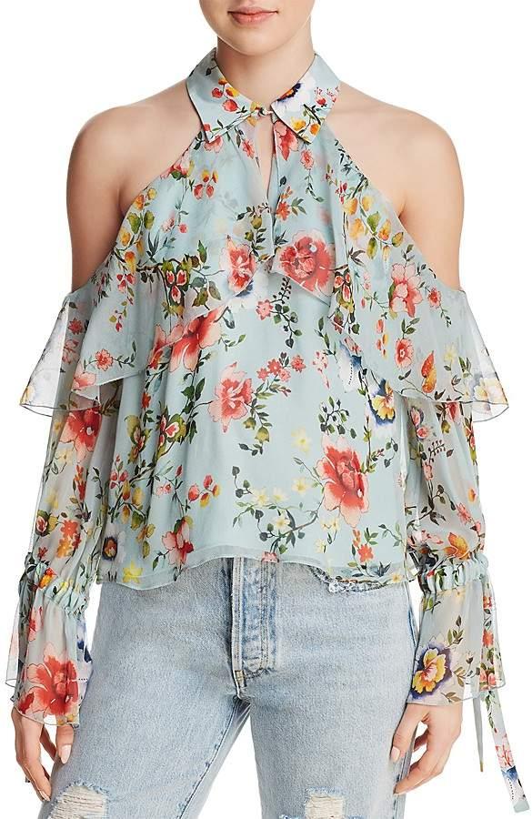 Alice + Olivia Blayne Floral Print Cold-Shoulder Silk Top