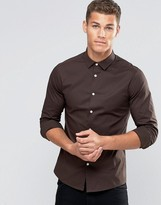 Asos Skinny Shirt In Dark Brown With Long Sleeves