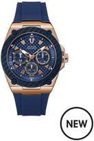 Guess Guess Legacy Blue And Rose Gold Detail Multi Dial Blue Silicone Strap Mens Watch