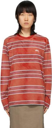 Stussy Red Bleach Stripe T-Shirt
