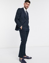 French Connection flannel chalk stripe slim fit suit pants