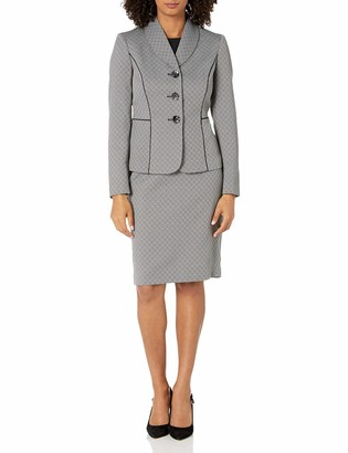 Le Suit LeSuit Women's Novelty 3 Button Shawl Lapel Skirt Suit
