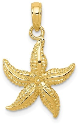 Curata 14k Yellow Gold Solid Textured Polished Open back Sea shell Nautical Starfish Pendant Necklace Measures 22.2x15.5mm Jewel