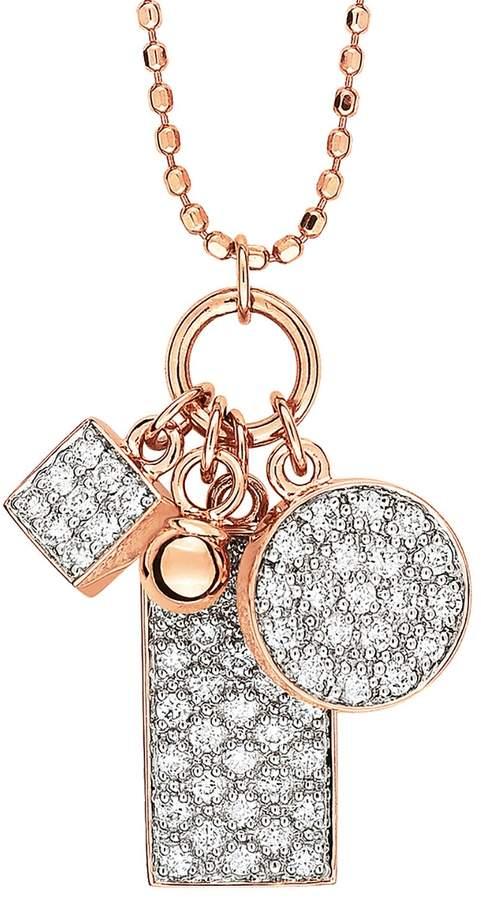 ginette_ny Mini White Diamond Ever Charm Necklace - Rose Gold