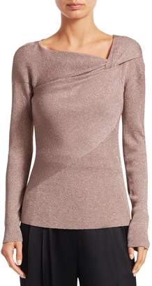 3.1 Phillip Lim Twist-Neck Ribbed Lurex Sweater