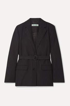 Kenzo Belted Metallic Pinstriped Wool-blend Blazer - Black