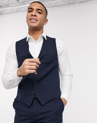French Connection wedding slim fit flannel suit vest