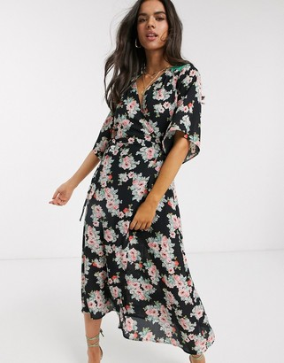 Liquorish midi wrap dress oversized floral print