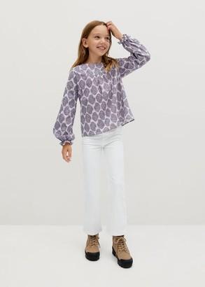 MANGO Printed cotton blouse off white - 5 - Kids