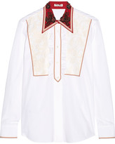Miu Miu Lace-paneled Embellished Cotton-poplin Shirt - White