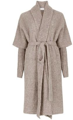 Salanida Hand Knitted Alpaca Blend Coat - Beige