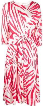 HUGO BOSS Zebra-Print Wrap Dress
