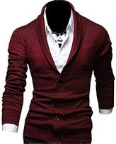 Kiistyle Slim V-Neck Pure Colour Cotton Blended Mens Knit Cardigan__XXL