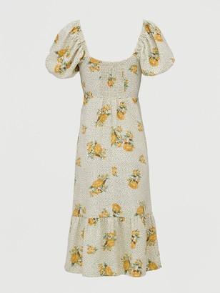 Very Shirred Back Square Neck Printed Linen Midi Dress - Print