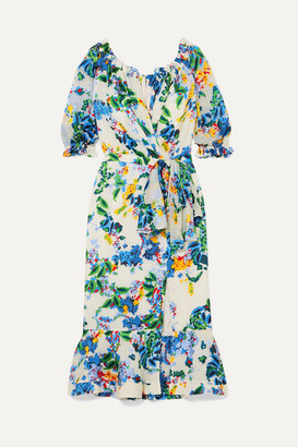 Saloni Olivia Floral-print Devore-chiffon Wrap-effect Midi Dress - White