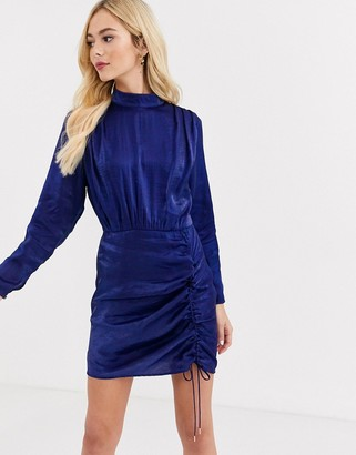 Finders Keepers rouche detail long sleeve satin dress in midnight blue