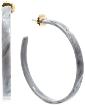 Zenzii Medium Gold-Tone & Acetate Thin Open Hoop Earrings 2""