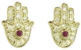 Sydney Evan Diamond Hamsa Stud Earrings - Yellow Gold