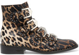 Givenchy Studded Ankle Boots In Leopard-print Leather - Leopard print