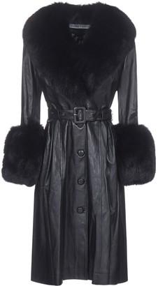 Saks Potts Fur-Trim Belted Coat