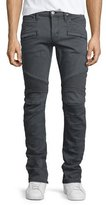 Hudson Blinder Biker Moto Slim-Straight Jeans, Light Gray