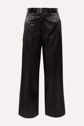 Junya Watanabe Cropped Satin Straight-leg Pants - Black