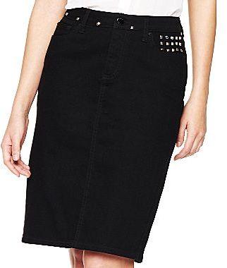 JCPenney Bisou Bisou® 5-Pocket Studded Denim Pencil Skirt