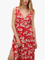 Thumbnail for your product : MANGO Floral Print Cut Out Detail Midi Dress, Cherry/Multi