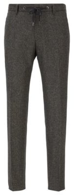 HUGO BOSS Slim Fit Pants In A Tweed Wool Blend - Light Green