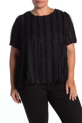 Everleigh Shadow Stripe Eyelash Fringe Top (Plus Size)