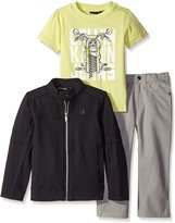 Calvin Klein Little Boys' 3 Piece Pant Set- Jacket with Graphic Tee and Jean