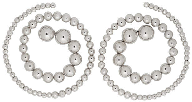 Y/Project Silver Pearl Spiral Earrings