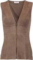 Bailey 44 Oryx paneled suede and stretch-jersey top